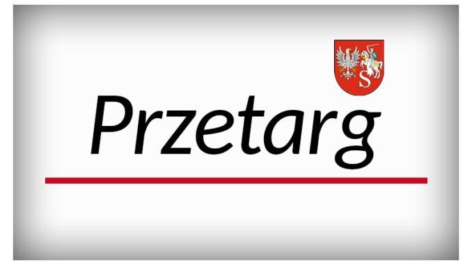 grafika zamierająca herb powiatu siemiatyckiego a poniżej napis przetarg